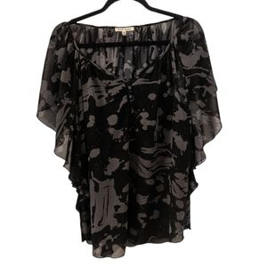 Black Rainn Sheer Short Sleeve Blouse size Medium